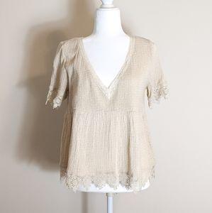 ZARA Trafaluc Collection Crochet & Lace Blouse